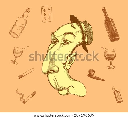 Drunk offender in the hat in the shape of the letter C and signs of drunkenness - playing cards,bottles of alcohol,drink,cigarettes,lighter,Smoking pipe for the drug..Vector illustration 8 eps - stock vector