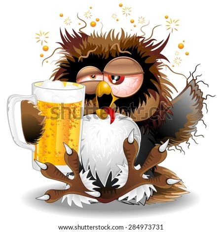 Drunk Owl Fun Cartoon - stock vector