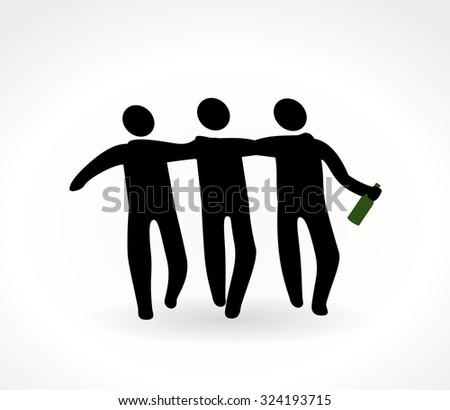Drunk stick men - stock vector
