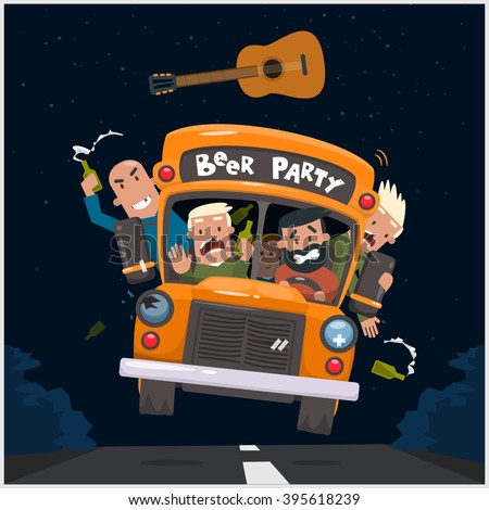 Drunken guys go to a concert with a beer. Vector illustration 10 eps - stock vector