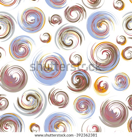 Dry brush hand drawn sketch artsy background, seamless pattern in pastel colors, messy grunge brush strokes, circles and swirls on white background.