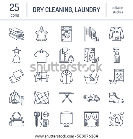 Dry Cleaning Laundry Line Icons Launderette Stock Vector