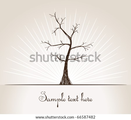 Dry tree drawn by hand vector illustration - stock vector