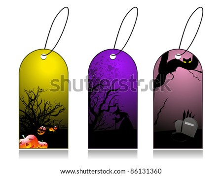 dry tree, pumpkin and gravestone concept set of halloween tag - stock vector