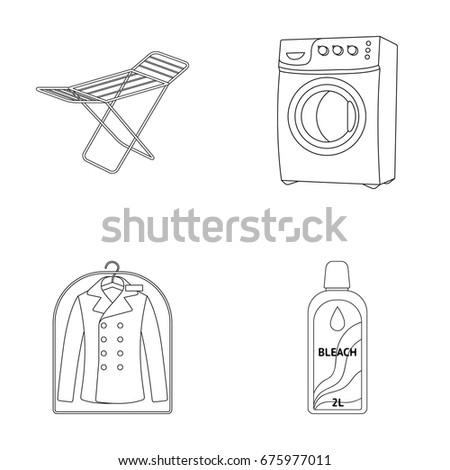 Dryer Washing Machine Clean Clothes Bleach Stock Vector 675977011