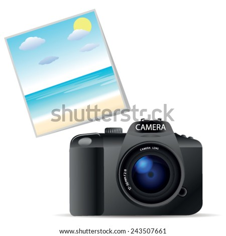 DSLR camera - stock vector