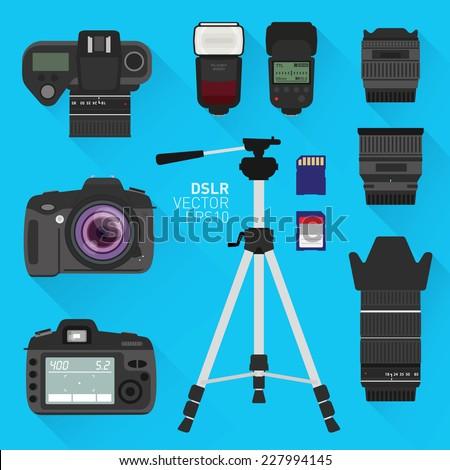 DSLR vector camera set - stock vector