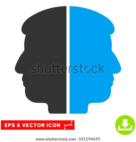Dual Face EPS vector pictogram. Illustration style is flat iconic bicolor blue and gray symbol on white background.