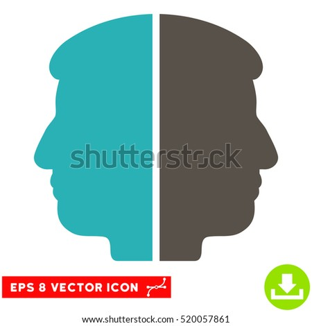 Dual Face EPS vector pictogram. Illustration style is flat iconic bicolor grey and cyan symbol on white background.