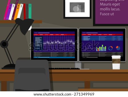 dual monitor stocks trading two terminal in desk - stock vector
