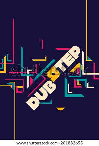 Dub step poster design. Vector illustration. - stock vector