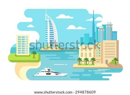 Dubai city beach skyline concept flat vector illustration - stock vector