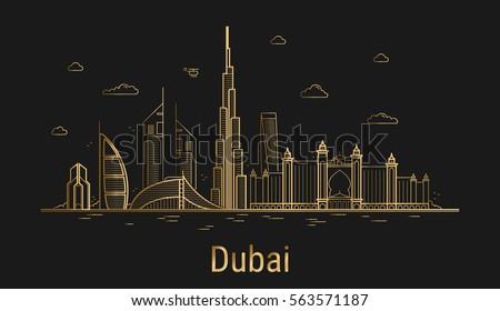 Line Art City : Dubai city line art golden architecture stock vector