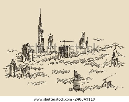 Dubai City skyline in morning clouds. Hand drawn, engraved vector illustration - stock vector