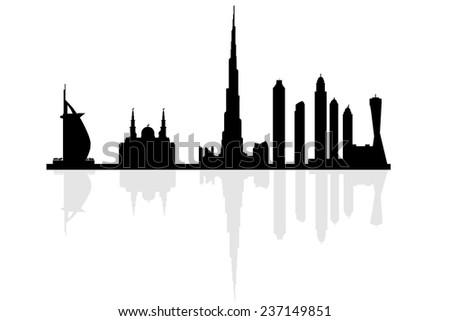 Dubai city skyline silhouette vector illustration - stock vector