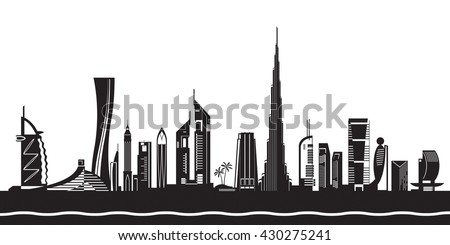 Dubai cityscape by day - vector illustration - stock vector