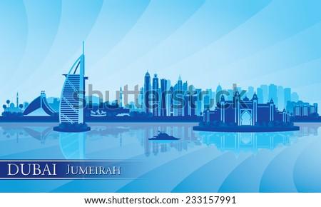 Dubai Jumeirah skyline silhouette background, vector illustration  - stock vector