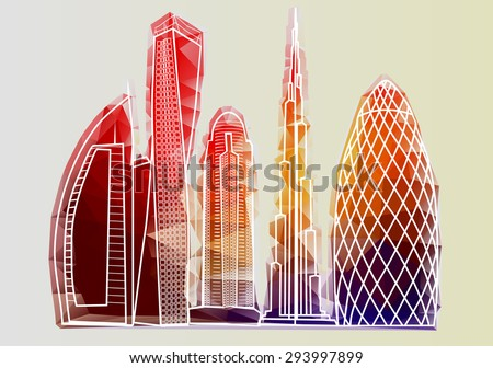 dubai skyline3. abstract building isolated on white background - stock vector