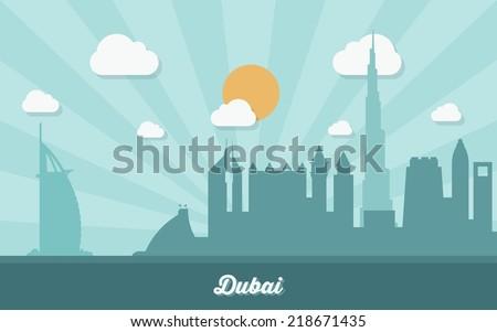 Dubai skyline - flat design - vector illustration - stock vector