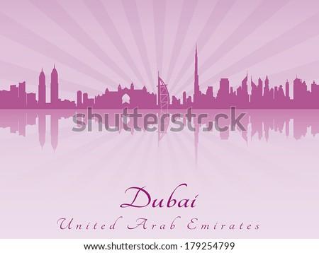 Dubai skyline in purple radiant orchid in editable vector file - stock vector
