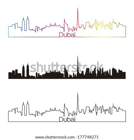 Dubai skyline linear style with rainbow in editable vector file - stock vector