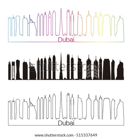 Dubai skyline linear style with rainbow in editable vector file