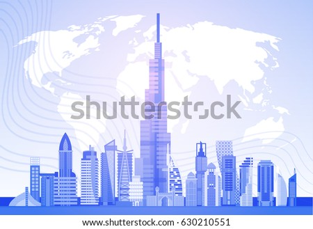 dubai skyline panorama over world map modern building cityscape business travel and tourism concept flat