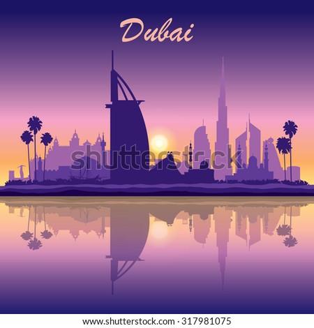 Dubai skyline silhouette on sunset background, vector illustration - stock vector