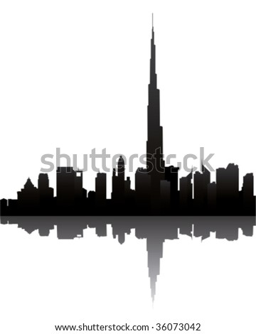 dubai skyline with burj dubai - stock vector