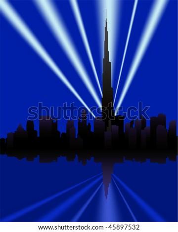 dubai skyline with Burj Khalifa - stock vector