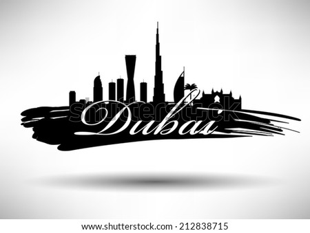 Dubai Skyline with Typography Design - stock vector
