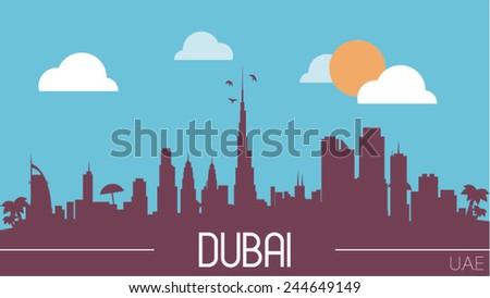 Dubai UAE skyline silhouette flat design vector illustration - stock vector
