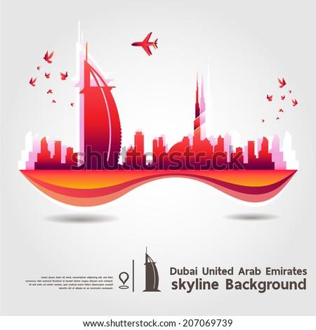 Dubai, United Arab Emirates, skyline background, vector Illustration - stock vector