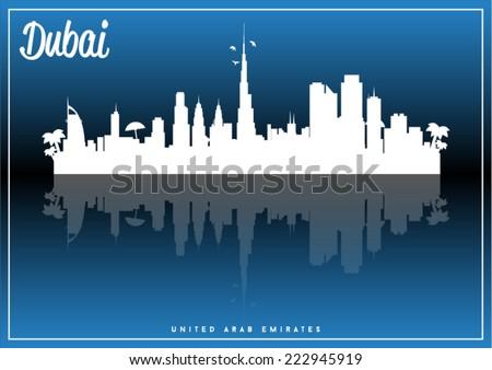 Dubai, United Arab Emirates, skyline silhouette vector design on parliament blue and black background. - stock vector