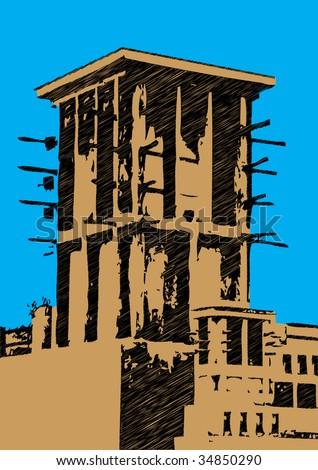 dubai wind tower scribble design - stock vector