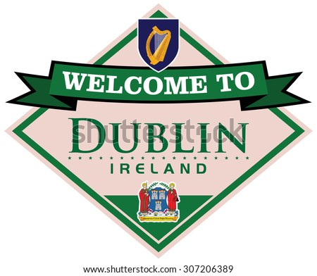 dublin ireland sticker - stock vector