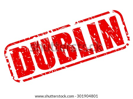 DUBLIN red stamp text on white - stock vector