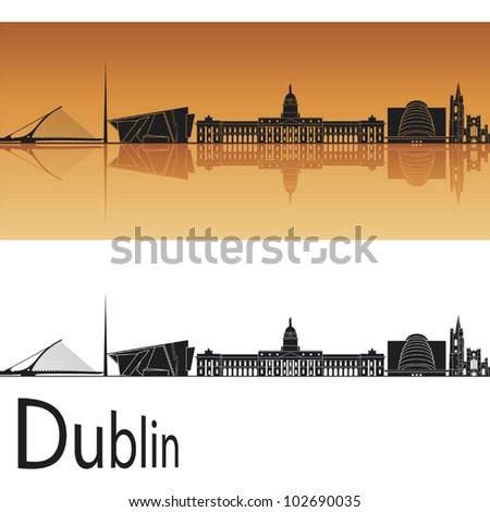 Dublin skyline in orange background in editable vector file - stock vector