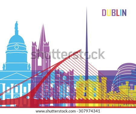 Dublin skyline pop in editable vector file - stock vector