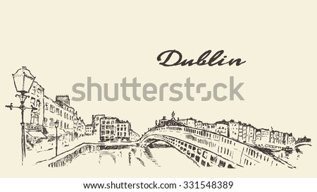 Dublin skyline, vintage engraved illustration, hand drawn, sketch - stock vector