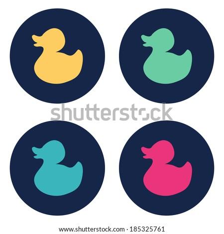 Duck flat icon. Vector illustration - stock vector