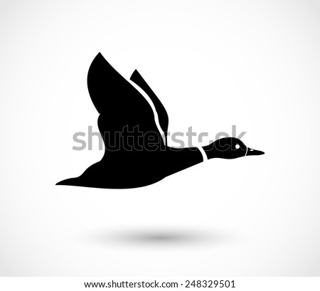 Duck flying icon, duck hunt vector - stock vector