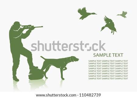 Duck hunting background - vector illustration - stock vector