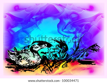 Duck in canes. Vector illustration of the nature. EPS 10 - stock vector