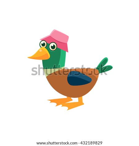 Duck Wearing Pink Hat Illustration. Funny Childish Vector Duck Drawing. Flat Isolated Cartoon Animal Icon. - stock vector