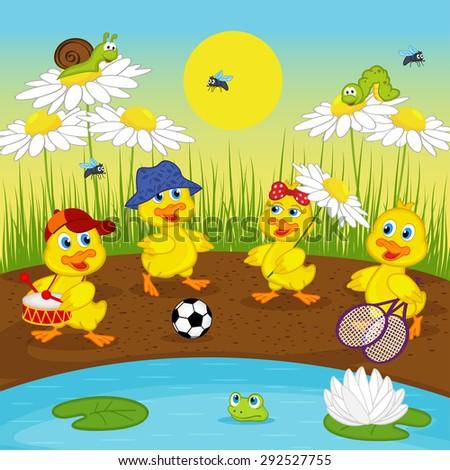 ducklings resting on lake - vector illustration, eps - stock vector
