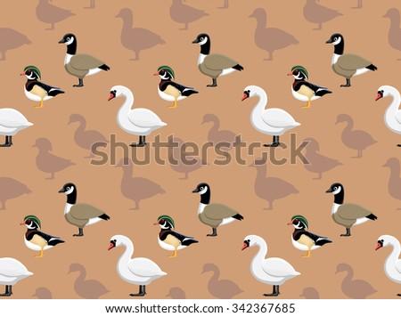 Ducks Wallpaper  - stock vector