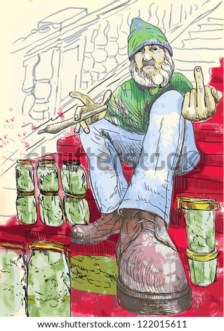 Dude selling marijuana on the stairs with red carpet and showing middle finger fuck off. / Editable in 7 layers. Number of colors in each layer: no more than sixteen. White color is excluded. - stock vector