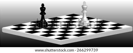Duel on the chessboard between white and black kings, the only remaining of all the figures. - stock vector