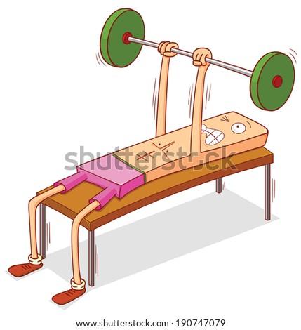 dumbbell chest press - stock vector